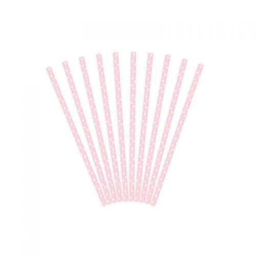 pajita rosa puntitos -floristería iglesias