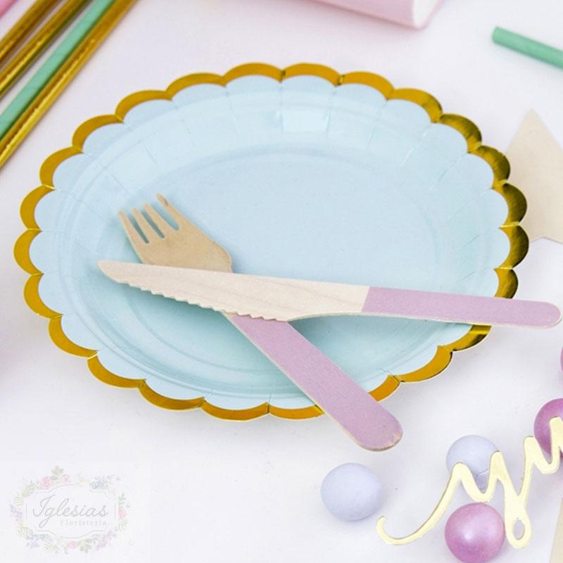plato azul - iglesiasfloristeria - fiesta